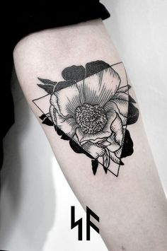 black flower to white flower in triangle tattoo - Google Search