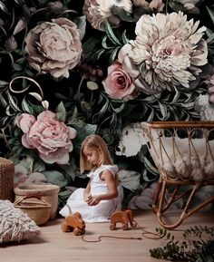 Dark Floral Wallpaper for Nursery Dutch Floral Wall Mural Large Florals Wall Art Peony Flower Wall Print for Kids Flower Vintage Home Decor Black Wallpaper Bedroom, Bold Wallpaper, Plant Wallpaper, Nursery Wallpaper, Flower Wallpaper, Large Floral Wallpaper, Kids Wallpaper, Logo And Identity, Identity Design
