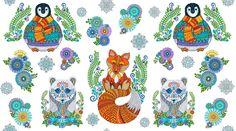 Wilmington Arctic Wonderland Large Animal Panel - Melinda's Fabric Shop Fabric Shop, Cool Fabric, Whimsical Owl, Wilmington Prints, Christmas Fabric, Large Animals, Polar Bear, Arctic, Damask
