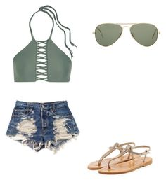 """""""😘"""" by melodyleighmitchell on Polyvore featuring Mikoh, Levi's, K. Jacques and Ray-Ban"""