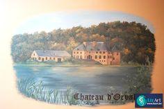 Muurschildering Chateau d'Orval in restaurant
