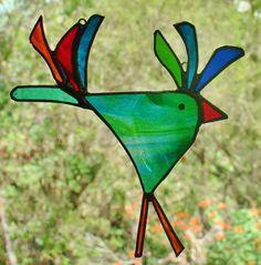 GROOVY ROOSTER Stained Glass Suncatcher CHICKEN ART GARDEN TWIRLERS WINDOW DECOR
