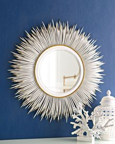 "White ""Porcupine Quill"" Mirror. Striking with the blue."