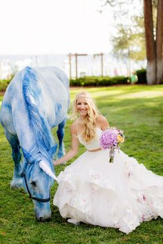 Straight out of a fairy tale! Wedding gown designer Hayley Paige had her very own unicorn at her wedding.