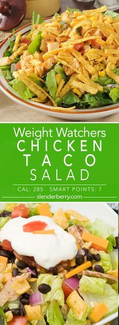 Weight Watchers Chicken Taco Salad Recipe & 7 Smart Points 285 Calories Source by slenderberry Taco Salad Recipes, Corn Recipes, Ww Recipes, Mexican Food Recipes, Chicken Recipes, Healthy Recipes, Chicken Meals, Mexican Salads, Healthy Dinners