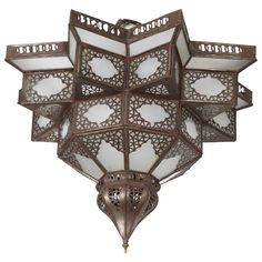 Moroccan Star Shape Frosted Glass Light Shade | From a unique collection of antique and modern flush mount at https://www.1stdibs.com/furniture/lighting/flush-mount-ceiling-lights/