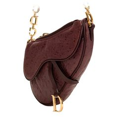 Christian Dior Aubergine, Ostrich Skin  Saddle  Bag   From a collection of  rare 3348746bb5a