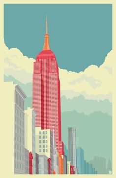 5th Avenue New York City - A gallery-quality illustration art print by Remko Gap Heemskerk for sale.