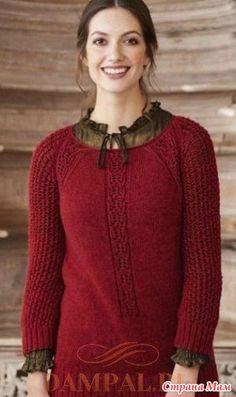 """Женский пуловер с ажурными рукава «реглан» украшен полосой аранов на груди. Описание женского пуловера от дизайнера Deborah Helmke переведено из журнала """"The Knitter"""" № 118. Размеры:"""