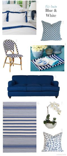Chic Combo: Blue & White featuring the Society Social Gramercy Sofa // Arianna Belle for La Dolce Vita Blue Duvet, Decor, Blue White Decor, White Home Decor, Blue And White, Blue, White Houses, White Rooms, Blue Pillows