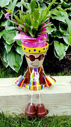 Hippie Clay Pot Person/Flower Pot Small by JustKraftz on Etsy