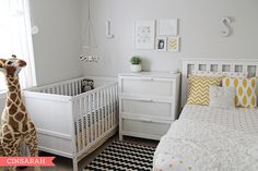 Yellow, black and white shared nursery. So cute!! Love the black and yellow chevron!