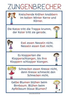 Zungenbrecher - I use tongue twisters to help students work their pronunciation muscles (literally). Use one as a short warm-up or multiple as a lesson. German Grammar, German Words, German Resources, Drawing Lessons For Kids, Tongue Twisters, German Language Learning, Reading Practice, Learn German, Special Education