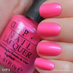 Opi hotter than you pink *nails* ногти, маникюр Opi Pink, Cute Pink Nails, Opi Nail Polish, Opi Nails, Nail Polishes, Manicures, Great Nails, Fabulous Nails, Pedicure