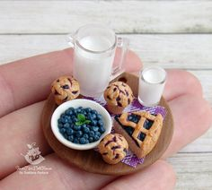 A set of miniature foods for Dollhouse and dolls. Blueberry