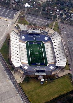 Rice Stadium in Houston, TX home of the Rice University Owls. The stadium was built to fit 70,000 people, but Rice unfortunately averages only 20,000 fans per home game now.