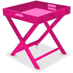 Boyde Tray Table With Removable Tray ($39) ❤ liked on Polyvore featuring home, furniture, tables, home decor, pink, pink furniture, pink table and pink side table