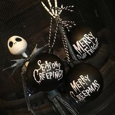 Set of 3 customised dark Christmas alternative goth bauble tree decorations. Available in Black Matt finish. Nightmare Before Christmas Decorations, Nightmare Before Christmas Halloween, Halloween Trees, Halloween Ornaments, Black Christmas Trees, Christmas Tree Baubles, Holiday Fun, Christmas Holidays, Holiday Ideas