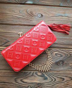 Wristlet Clutch Hand Tooled Genuine Leather Women Bright Red Elegant Design  #MakeyStudio #Clutch