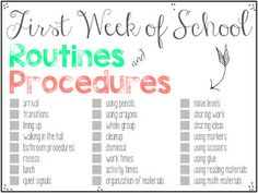 First Day of School, Part 2: Routines and Procedures