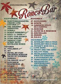 2014 Őszi-téli Roncsbár Koncert program