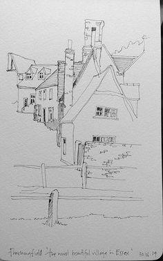 A minute) line sketch Cool Drawings, Drawing Sketches, Village Drawing, Architect Drawing, Line Sketch, Arte Sketchbook, Pics Art, Landscape Drawings, Urban Sketchers