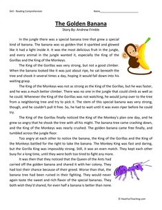 This Golden Banana - Reading Comprehension Worksheet will help your students build their reading comprehension skills while reading about a special banana in the jungle. English Moral Stories, English Stories For Kids, English Story, Kids English, Learn English, Reading Comprehension Strategies, Reading Fluency, Reading Passages, Reading Stories