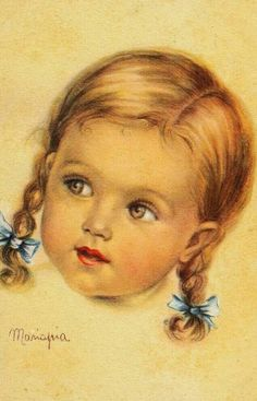 Little girl with braids -- by Maria Pia Franzoni (Italian, Vintage Pictures, Vintage Images, Cute Pictures, Baby Clip Art, Baby Art, Baby Images, Children Images, Vintage Prints, Vintage Art