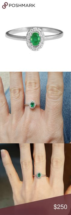 Mini Emerald & Diamond Diana Ring Like new, worn 1-2 times. Gorgeous oval 14k white gold, Emerald & Diamond ring. Dainty & simple. Can be worn on its own or stacked with other rings. Diamonds total weight 0.10 c.t. Silly Shiny Jewelry Rings