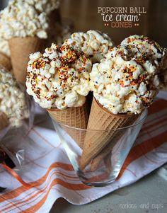 "Popcorn Ball ""Ice Cream"" Cones"