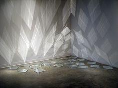 By heather lewis design visual, art design, light art installation, mirror wall Interaktives Design, Design Visual, Glass Design, Modern Design, Light Art Installation, Art Installations, Mirror Tiles, Mirror Art, Mirrors