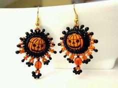 SALE Pumpkin Earrings by OhMyBeadingHeart on Etsy, $30.00