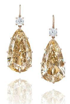 Van Cleef & Arpels Fancy Intense Colored Diamond, Brilliant White Diamond and 18K Gold Earrings