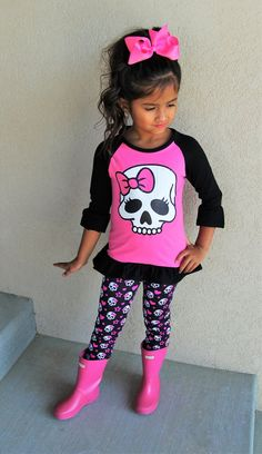 Girls Halloween Hot Pink Skull Legging Set