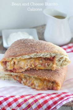 Bean and Cheese Burrito Calzone Recipe.  Fun weeknight dinner idea  www.picky-palate.com