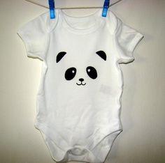 panda baby onesie panda bear panda baby outfit custom baby onesie craft pinterest. Black Bedroom Furniture Sets. Home Design Ideas