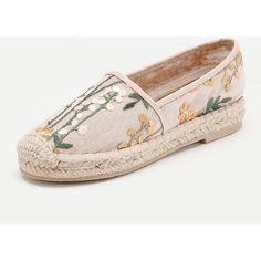 Flower Embroidery Cap Toe Espadrille Flats ❤ liked on Polyvore featuring shoes, flats, cap toe espadrille, flat pump shoes, toe cap shoes, flat heel shoes and flat shoes