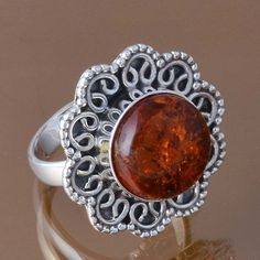 HOT SELL 925 STERLING SILVER SYNTHTIC AMBER RING 5.63g DJR8345 SZ-6.5 #Handmade #Ring
