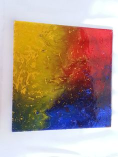 Abstract Resin and Acrylic Painting Primary by The Smoking Squid * Art Housewarming gift office  inspiration