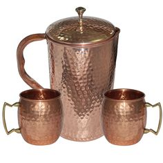 Amazon.com   DakshCraft High Quality Pure Copper Jug With 2 Pure Copper Hammered Moscow Mule Mug Set: Glassware & Drinkware