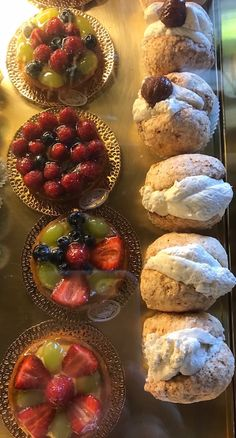 Arione Pastry Shop, Cuneo Piedmont Italy - Delightful meringues with whipped cream and fruit tarts