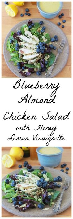 4 Points About Vintage And Standard Elizabethan Cooking Recipes! Blueberry, Almond, Chicken Salad With Lemon Honey Vinaigrette Is A Fresh And Filling Healthy Lunch Winter Salad Recipes, Chicken Salad Recipes, Easy Salads, Healthy Eating Recipes, Healthy Salad Recipes, Veggie Recipes, Cooking Recipes, Savory Salads, Honey Recipes