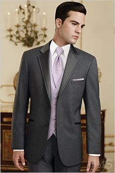 Grey suit purple lavender groomsmen