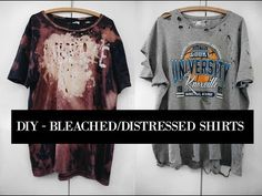 HOW TO BLEACH/DISTRESS SHIRTS || DIY || SUMMER SHIRTS || ARTSY SHIT - YouTube