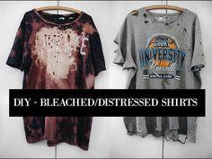 HOW TO BLEACH/DISTRESS SHIRTS || DIY || SUMMER SHIRTS || ARTSY SHIT - YouTube