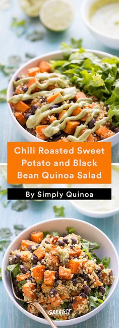 1. Chili Roasted Sweet Potato and Black Bean Quinoa Salad #Healthy #Quinoa #Salads http://greatist.com/eat/quinoa-salads-we-cant-wait-to-dig-into