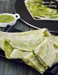Mysore Masala Dosa with Green Chutney recipe, Healthy Recipes Japanese Street Food, Thai Street Food, Indian Street Food, South Indian Food, Indian Snacks, Indian Food Recipes, Vegetarian Recipes, Healthy Recipes, Veg Recipes