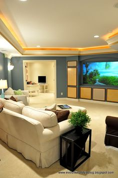 Like the screen, ceiling treatment, and the dual purpose feel of the space. Can be a home theater/media room as well as a family room.