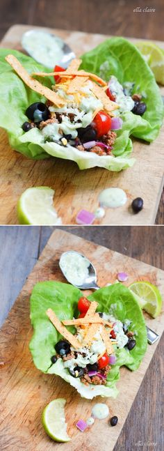 The perfect meal for summer! Taco Salad Lettuce Wraps~ The homemade avocado ranch dressing is amazing!