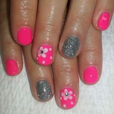 """""""#neon #hotpink #pink #shellac #nails with #3d #flowers ##daisies and #silver #glitter"""""""